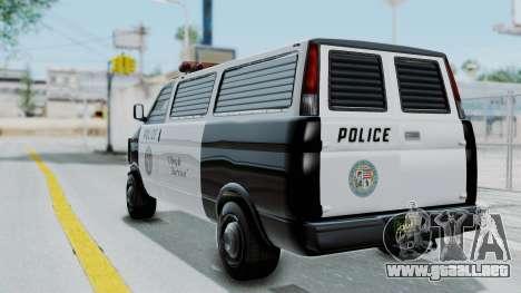 GTA 5 Declasse Burrito Police Transport IVF para GTA San Andreas left