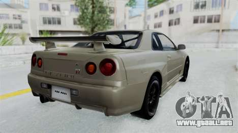 Nissan Skyline GT-R R34 2002 F&F4 Damage Parts para GTA San Andreas left