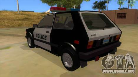 Yugo GV Police para GTA San Andreas vista posterior izquierda