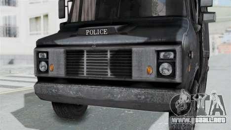 La camioneta de la policía de RE Brote para la visión correcta GTA San Andreas