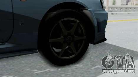 Nissan Skyline GT-R R34 V-spec 1999 para GTA San Andreas vista posterior izquierda