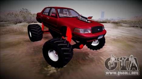 2003 Ford Crown Victoria Monster Truck para GTA San Andreas vista hacia atrás