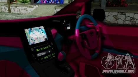 Toyota Vellfire Miku Pocky Exhaust v2 para la visión correcta GTA San Andreas