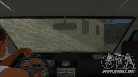 Nissan X-Trail 4x4 Dirty by Greedy para visión interna GTA San Andreas