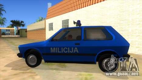 Yugo Koral Police para GTA San Andreas left