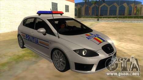 Seat Leon Cupra Romania Police para GTA San Andreas vista hacia atrás