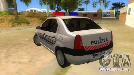 Dacia Logan Romania Police para GTA San Andreas vista posterior izquierda