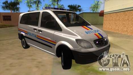 Mercedes Benz Vito Romania Police para GTA San Andreas vista hacia atrás