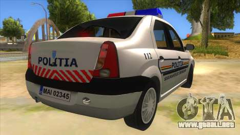 Dacia Logan Romania Police para la visión correcta GTA San Andreas