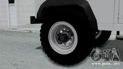 Land Rover Defender Serbian Border Police para GTA San Andreas vista posterior izquierda