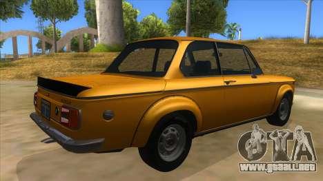 1974 BMW 2002 turbo v1.1 para la visión correcta GTA San Andreas