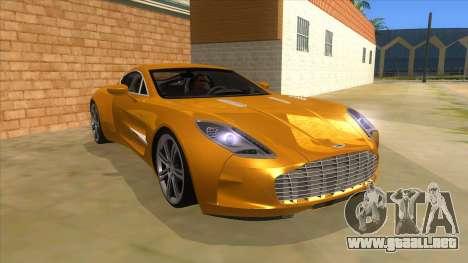 Aston Martine One-77 2010 Autovista para GTA San Andreas vista hacia atrás