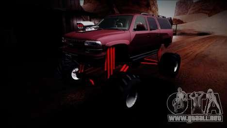 2003 Chevrolet Suburban Monster Truck para vista inferior GTA San Andreas