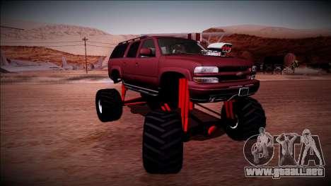 2003 Chevrolet Suburban Monster Truck para visión interna GTA San Andreas