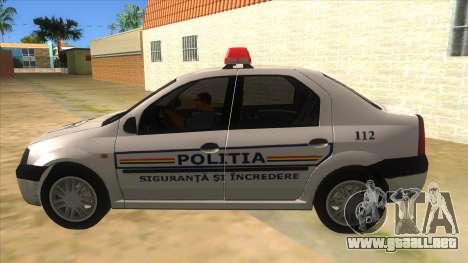 Dacia Logan Romania Police para GTA San Andreas left