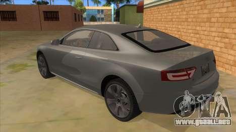 Audi S5 Sedan V8 para GTA San Andreas vista posterior izquierda