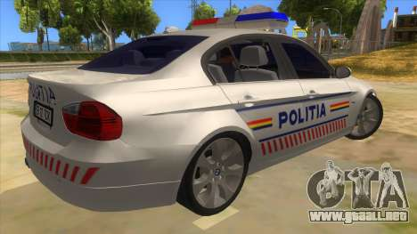 BMW 330XD Romania Police para la visión correcta GTA San Andreas