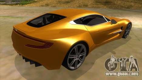 Aston Martine One-77 2010 Autovista para la visión correcta GTA San Andreas
