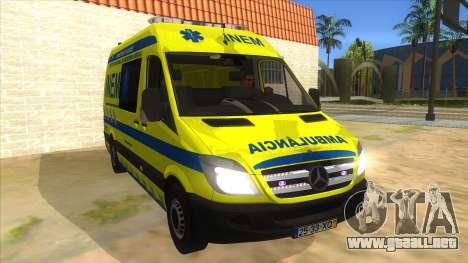 Mercedes-Benz Sprinter INEM Ambulance para GTA San Andreas vista hacia atrás