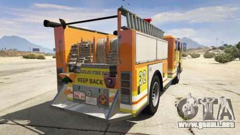GTA 5 Los Angeles Fire Truck vista lateral izquierda trasera