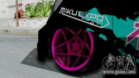 Toyota Vellfire Miku Pocky Exhaust v2 para GTA San Andreas vista posterior izquierda