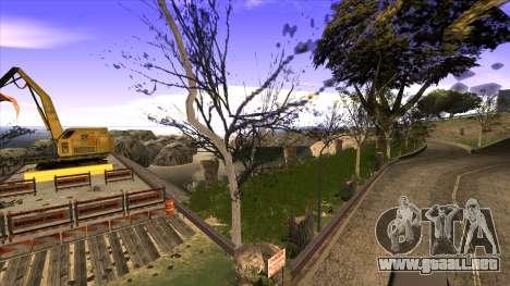 La construcción del puente, y el denso bosque para GTA San Andreas octavo de pantalla