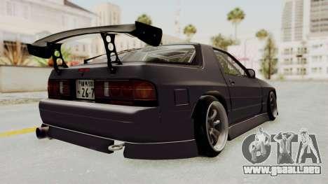 Mazda RX-7 1990 (FC3S) Cordelia Glauca Itasha para GTA San Andreas vista posterior izquierda