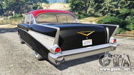 GTA 5 Chevrolet Bel Air Sport Coupe 1957 v1.5 vista lateral izquierda trasera