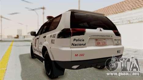 Mitsubishi Pajero Policia Nacional Paraguaya para GTA San Andreas left