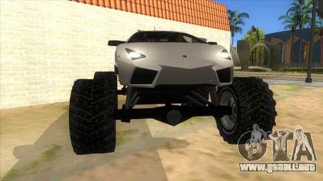 Lamborghini Reventon Monster Truck para GTA San Andreas vista hacia atrás