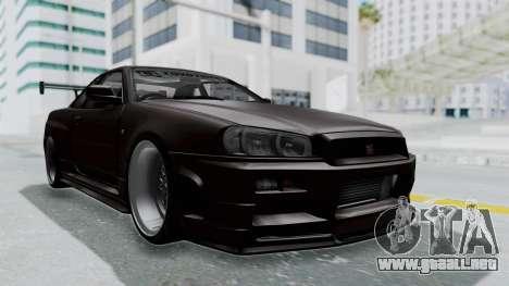 Nissan Skyline R34 GTR 2002 V-Spec II S-Tune para la visión correcta GTA San Andreas