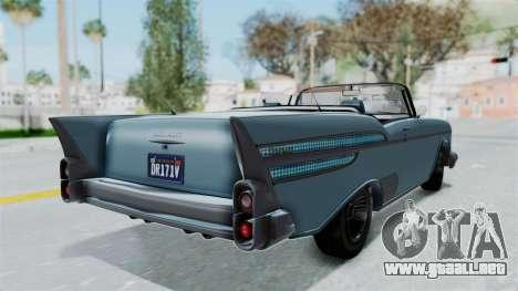 GTA 5 Declasse Tornado No Bobbles and Plaques para GTA San Andreas vista posterior izquierda