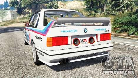 GTA 5 BMW M3 (E30) 1991 v1.3 vista lateral izquierda trasera