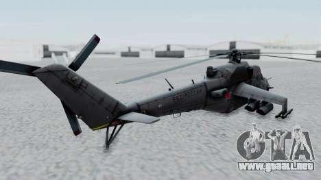 Mi-24V Russian Air Force 39 para GTA San Andreas vista posterior izquierda