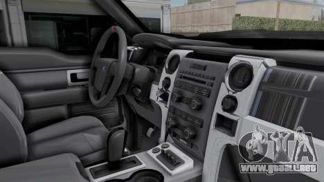 Ford F-150 Raptor 2015 para visión interna GTA San Andreas