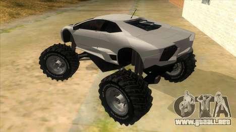 Lamborghini Reventon Monster Truck para GTA San Andreas vista posterior izquierda