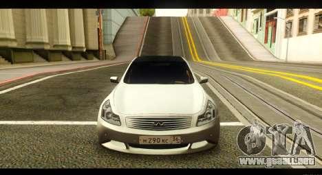 Infiniti G37 para GTA San Andreas vista hacia atrás