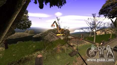 La construcción del puente, y el denso bosque para GTA San Andreas segunda pantalla