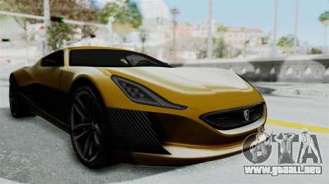Rimac Concept One para la visión correcta GTA San Andreas