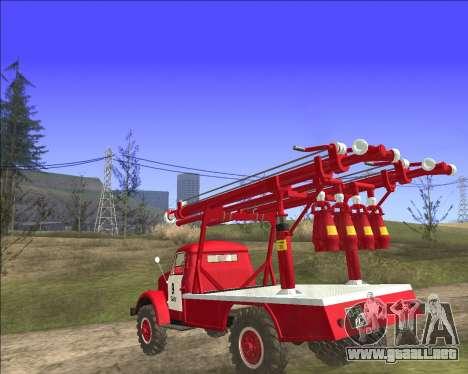 GAS 63 APG-14 camión de Bomberos para GTA San Andreas vista posterior izquierda