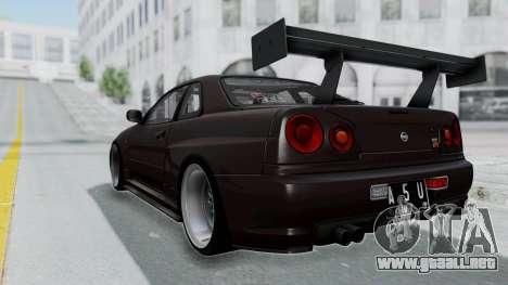 Nissan Skyline R34 GTR 2002 V-Spec II S-Tune para GTA San Andreas left