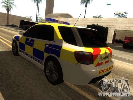 SAAB 9-2 Aero Turbo Generic UK Police para GTA San Andreas vista posterior izquierda