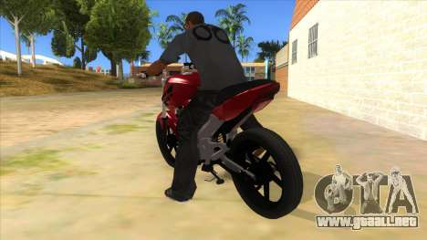 Honda Twister Stunt para GTA San Andreas vista posterior izquierda