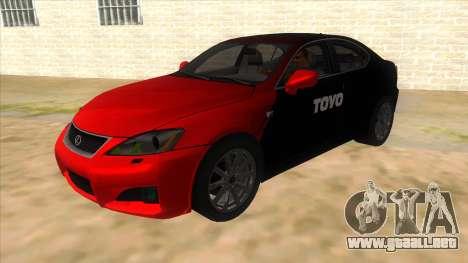 Lexus ISF para vista lateral GTA San Andreas