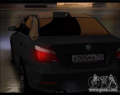 BMW 530xd stock para GTA San Andreas vista posterior izquierda
