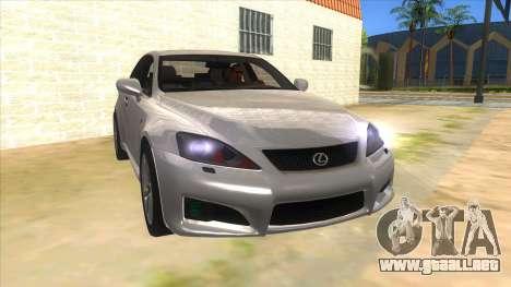 Lexus ISF para GTA San Andreas vista hacia atrás