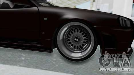 Nissan Skyline R34 GTR 2002 V-Spec II S-Tune para GTA San Andreas vista hacia atrás