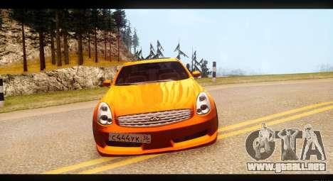 Infiniti G35 para GTA San Andreas vista hacia atrás