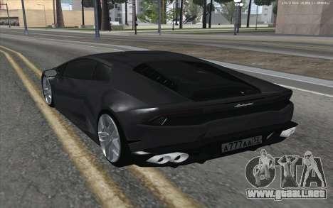 Lamborghini Huracan para GTA San Andreas vista posterior izquierda