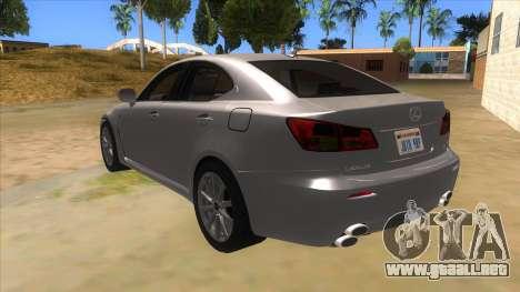 Lexus ISF para GTA San Andreas vista posterior izquierda